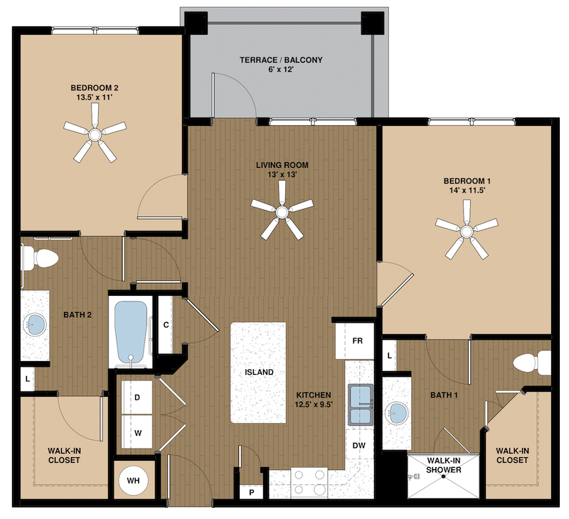 two-bedroom apartment floor plan Dogwood at Center West Apartments in Midlothian VA