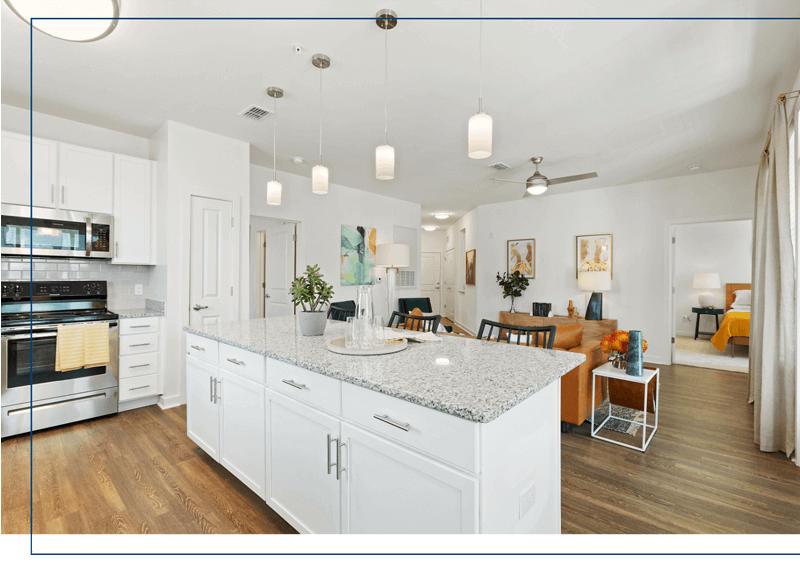 luxury midlothian apartment with large kitchen island at center west apartments
