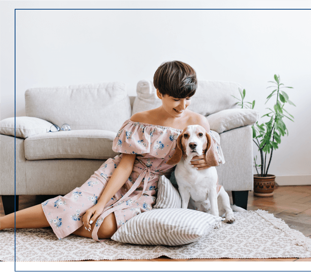 resident and her dog at center west pet-friendly apartments in midlothian va